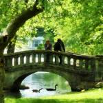 """Couple on Bridge in Park"" by susansartgallery"