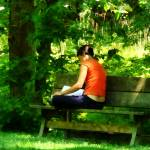 """Girl Reading in Park"" by susansartgallery"