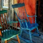 """Blue Chair Against Red Door"" by susansartgallery"
