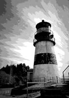 Cape Disappointment Lighthouse Two B And W