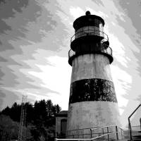 Cape Disappointment Lighthouse Two B And W Art Prints & Posters by Joyce Dickens