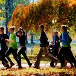 """Girls Jogging On an Autumn Day"" by susansartgallery"