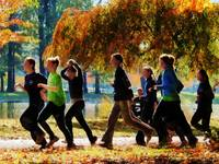 Girls Jogging On an Autumn Day