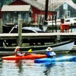 """Orange and Blue Kayaks"" by susansartgallery"