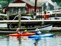 Orange and Blue Kayaks