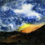 """Starry Night with Fire in Santa Monica Mountains"" by randysprout2004"