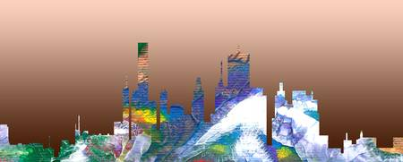 Decorative Skyline Abstract  Houston T1115C