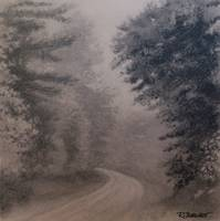 Road to Travel charcoal painting