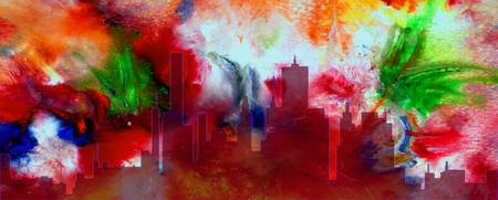 Decorative Skyline Abstract  Houston T1115E