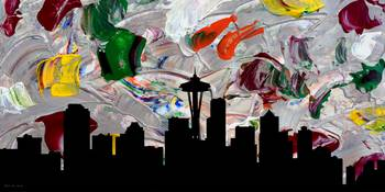 Decorative Skyline Abstract  Seattle T1115W