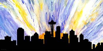 Decorative Skyline Abstract  Seattle T1115Z
