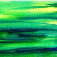 Green Abstract Landscape Painting Peaceful Flow