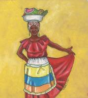 Colombian Vendors - Red Dress