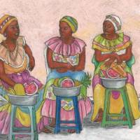 Colombian Fruit Vendors; Serious Talk Art Prints & Posters by Lynn DeBeal