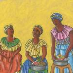 """""""Colombian Fruit Vendors; Chatting"""" by LynnArmedeDeBeal"""