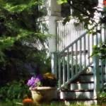 """Porch With Urn and Pumpkin"" by susansartgallery"