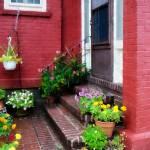 """""""Pots of Flowers by Door"""" by susansartgallery"""