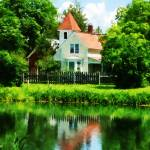 """Suburban House with Reflection"" by susansartgallery"