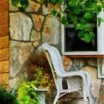 """Wicker Rocking Chair on Porch"" by susansartgallery"