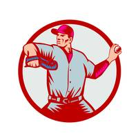 Baseball Pitcher Throwing Ball Circle Side Woodcut