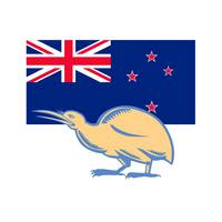 Kiwi Bird NZ Flag Woodcut