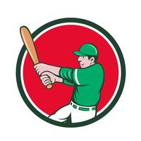 Baseball Player Batter Swinging Bat Circle Cartoon