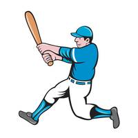 Baseball Player Batter Swinging Bat Isolated Carto