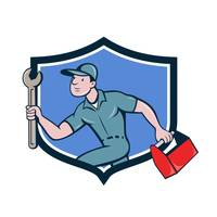 Mechanic Spanner Toolbox Running Crest Cartoon