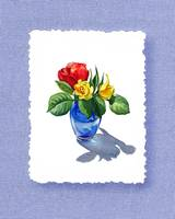 Rose Bouquet On Baby Blue Decorative Painting