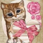 """Kitty Valentine Victorian Mixed Media"" by ReneeLozenGraphics"