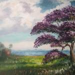 """Tropical Jacaranda Tree Oil Painting"" by mazz"