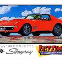 1969 Corvette Poster with Caption Art Prints & Posters by David Caldevilla