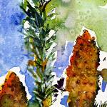"""Pine Cones Autumn Trees Watercolor"" by GinetteCallaway"