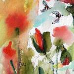 """Poppies and Bees Square Painting"" by GinetteCallaway"