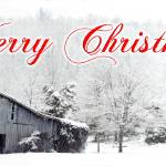 """Merry Christmas Barn Snow Scene"" by tricia"