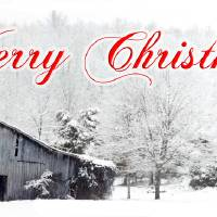 Merry Christmas Barn Snow Scene Art Prints & Posters by Patricia Ferguson