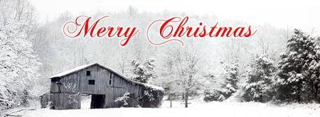 Merry Christmas Barn Snow Scene