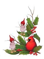 Christmas: Cardinal with Holly and Gnomes