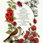 """Serenity Prayer with Bird and Flowers"" by joyart"