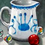"""Little Pitcher with Marbles: Still Life Painting"" by joyart"