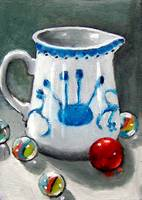 Little Pitcher with Marbles: Still Life Painting