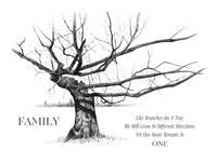 Gnarled Tree in Pencil with Quote About FAMILY
