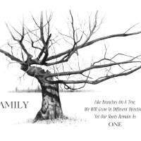 Gnarled Tree in Pencil with Quote About FAMILY Art Prints & Posters by Joyce Geleynse