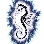 """Seahorse White Fuzz"" by artdeep"
