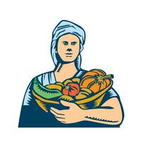 Lady Organic Farmer Produce Harvest Woodcut