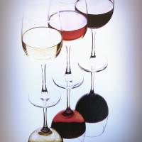 Thre Glasses of Wine, White, Rose and Red Art Prints & Posters by George Oze