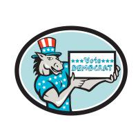 Vote Democrat Donkey Mascot Oval Cartoon Art Prints & Posters by aloysius patrimonio