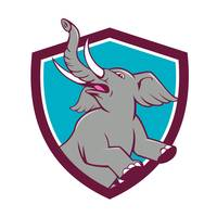 Elephant Prancing Crest Cartoon
