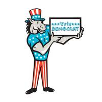 Vote Democrat Donkey Mascot Standing Cartoon