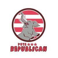 Vote Republican Elephant Mascot Circle Cartoon